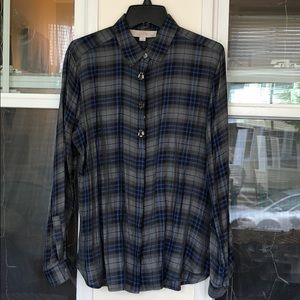 LOFT career plaid button up blouse with beading